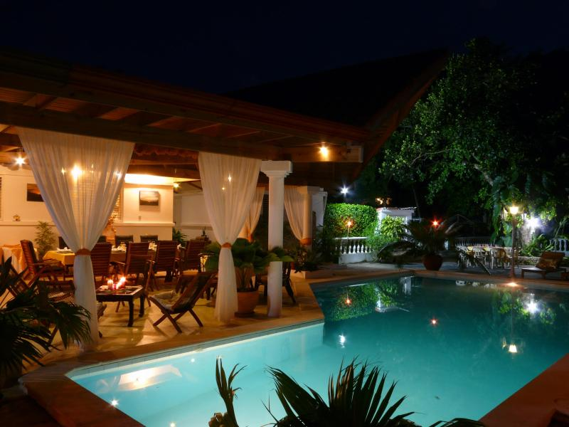 Pool and terrace at night