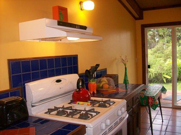 Cuisine entièrement équipée, portes coulissantes ouvrent sur la véranda et le jardin