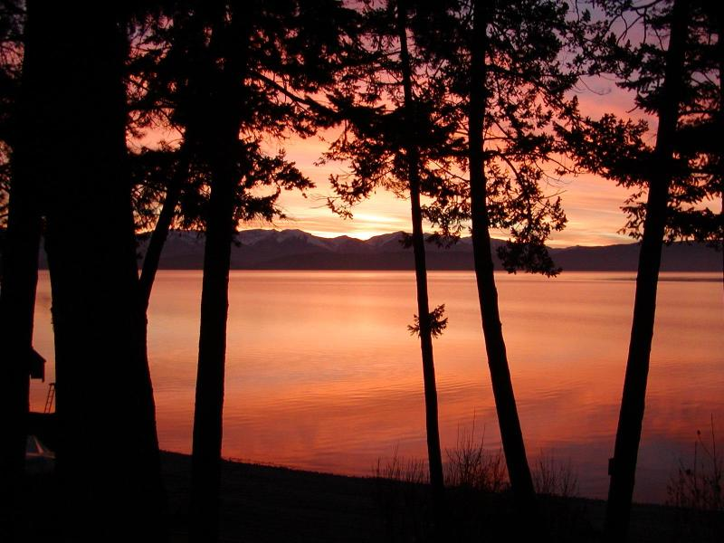 Sunrise over Flathead Lake from home
