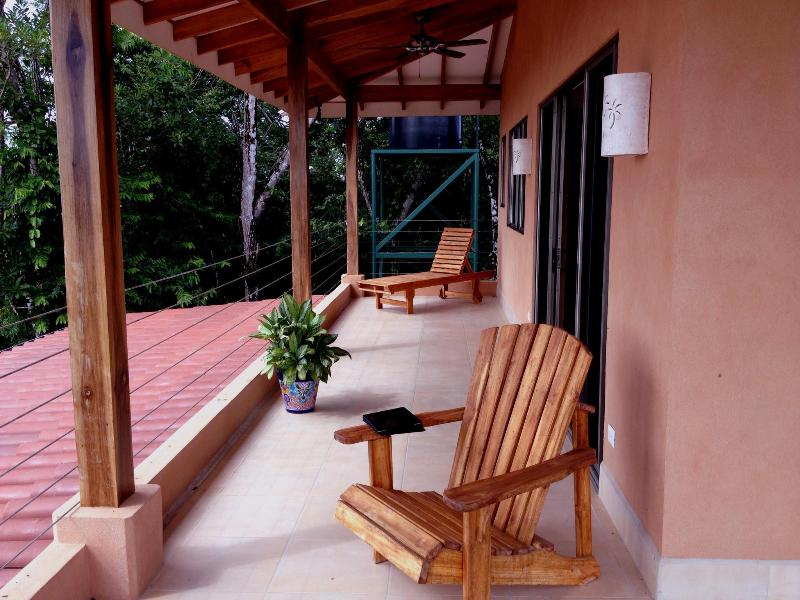 An upstairs patio