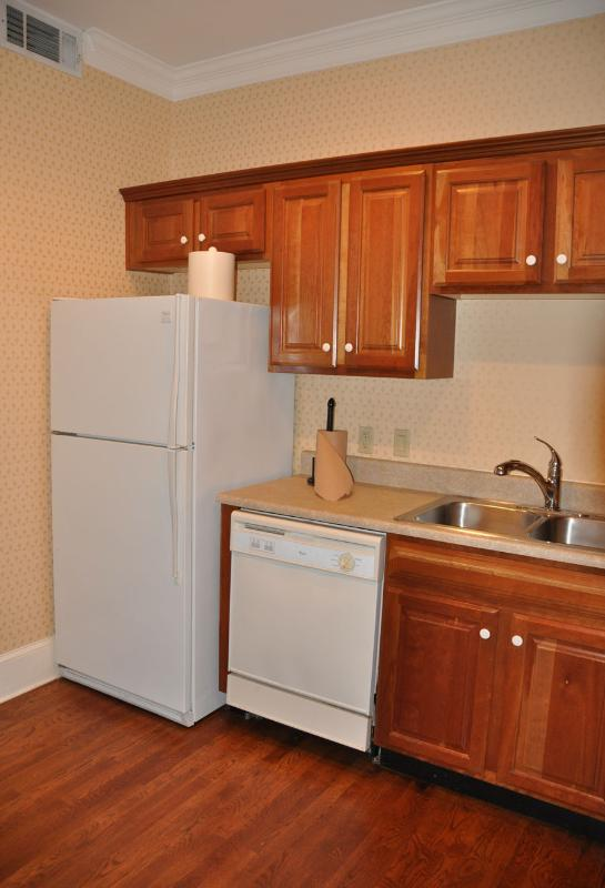 Plenty of space in the kitchen to prepare a gourmet meal or order pizza in.