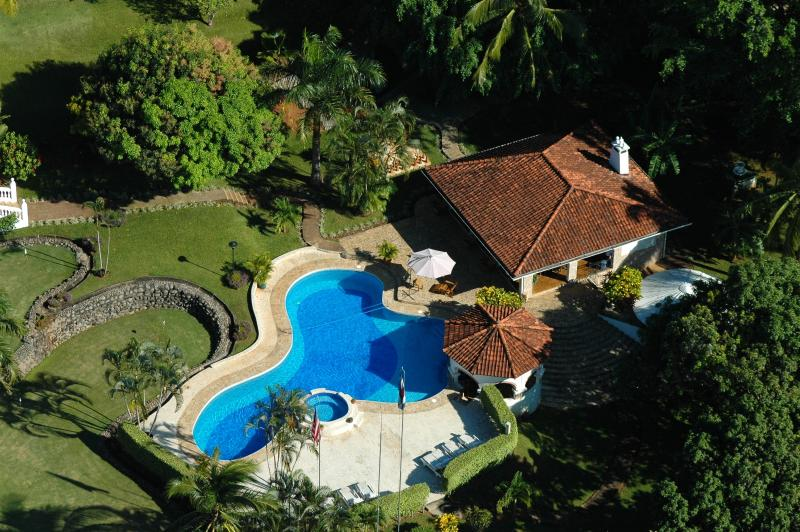 Aerial detail of Rancho, Pool and Swim up Bar