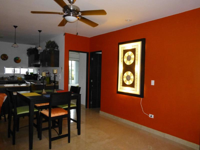 Dining room, handcrafted, woven art, with light background