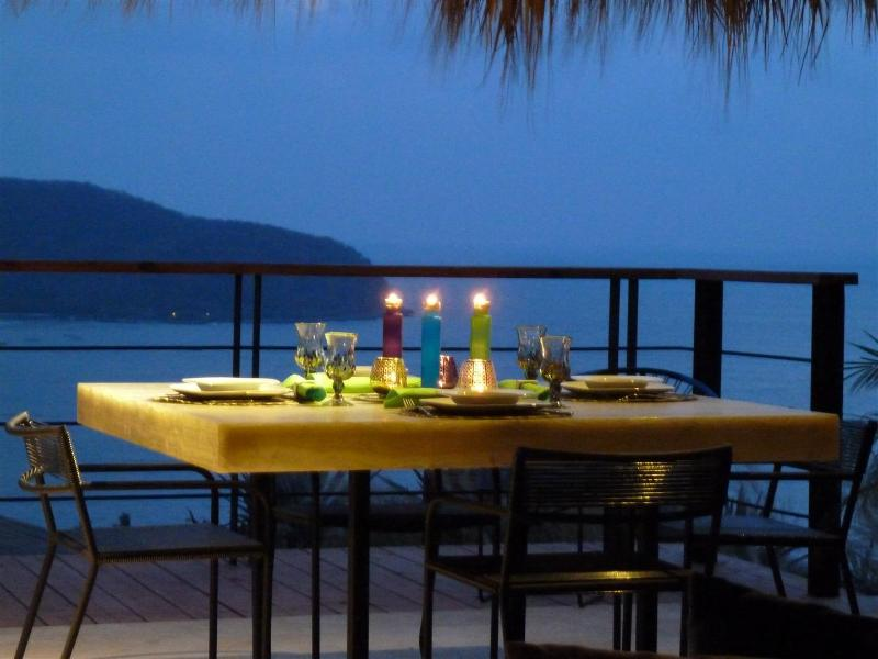 Onyx Dining Room Table overlooking Zihuatanejo Bay