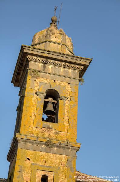 the bell tower of the village church