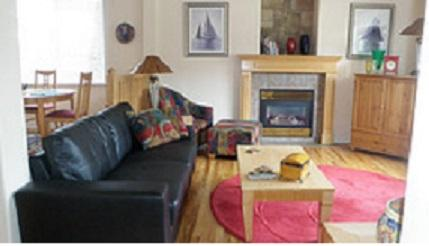 Living room with fire place, TV, DVD player, cable TV, wireless  internet.