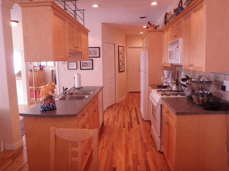 Fully equipted kitchen with dishwasher, microwave, toaster, coffee machine.