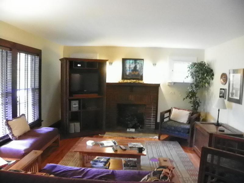 Spacious living area, satellite TV, DVD player, video library, Futon sleeper sofa