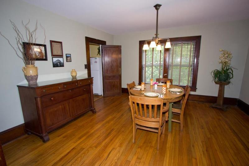Enjoy the romantic dinner or room enough for family game time.Antique sideboard and dining table
