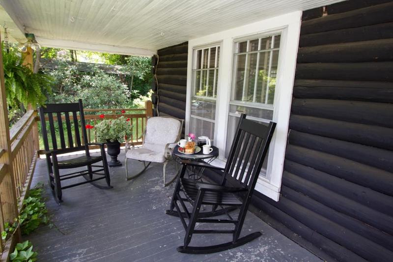 This is what you came for! Rocking chair front porch...your decompression chamber...ahhh!