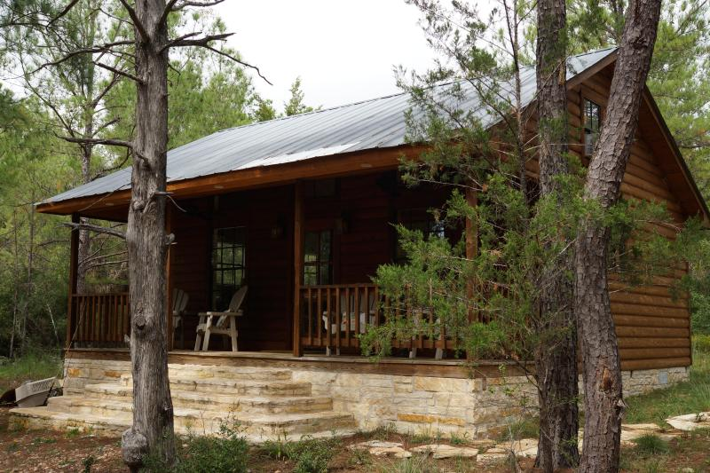 Rustic cedar and stone cabin