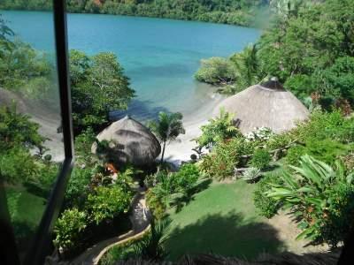View of beach from bedroom window