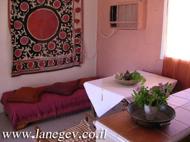 interior of the 2 bedroom family cottage with equipped kitchen