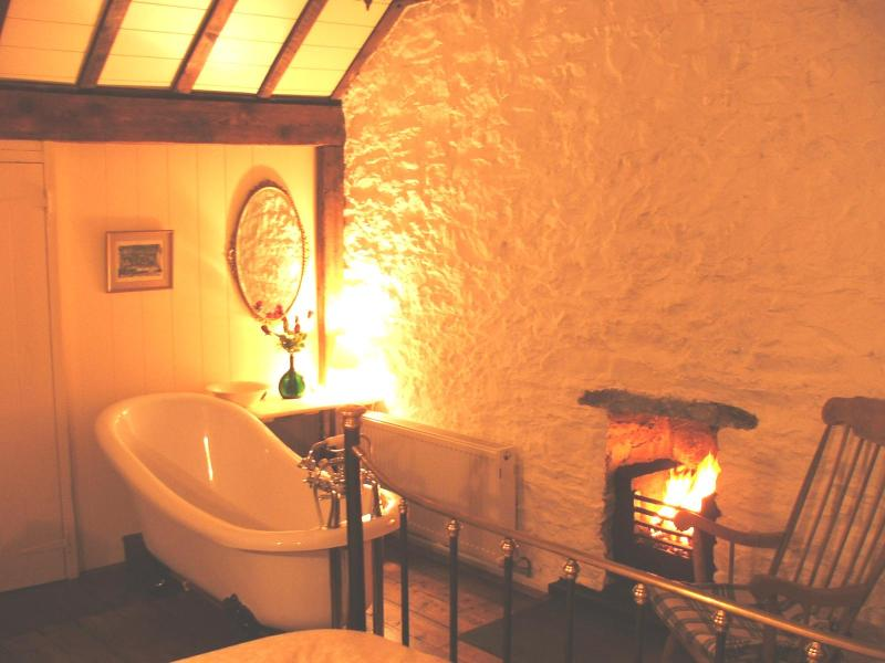 Enjoy a fireside soak before retiring to the very comfortable Kingsize Victorian Bed.
