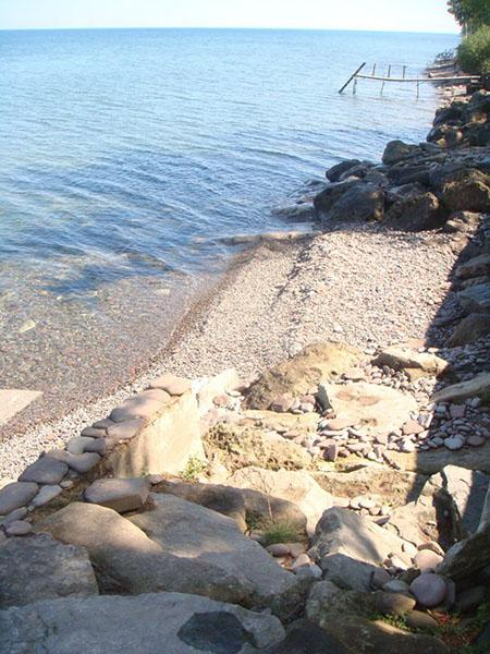 rocks to the water