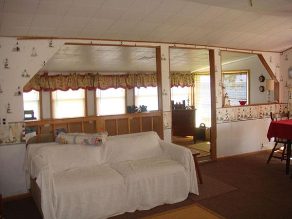 sitting area has two pull out double beds