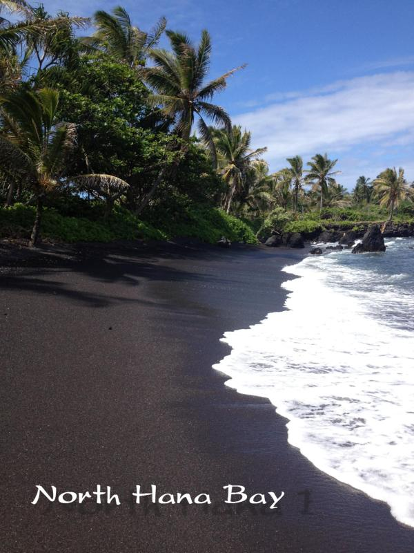 Beautiful Black Sand of North Hana Bay