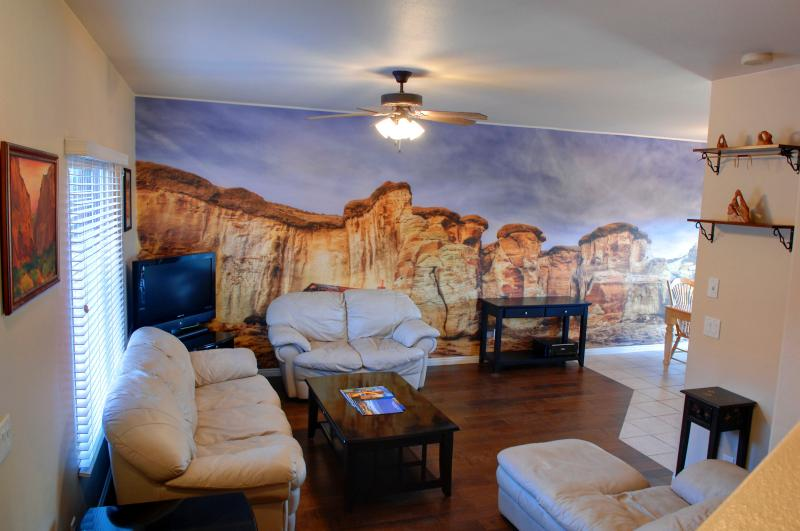 Living Room with Beautiful Mural of Local Landscape
