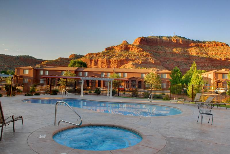 Relax in the Pool or Hot Tub and Enjoy the View after Exploring the Area!