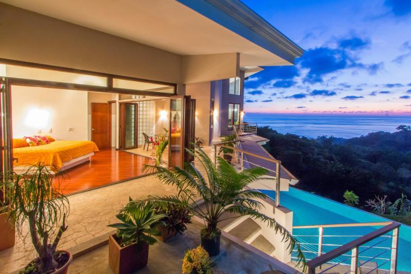 Master Bedroom, Pool & Sunset at Casa Bambu