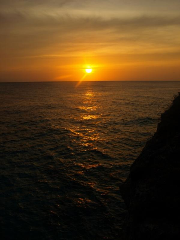 Sunsetting in the ocean, view from the gazebo