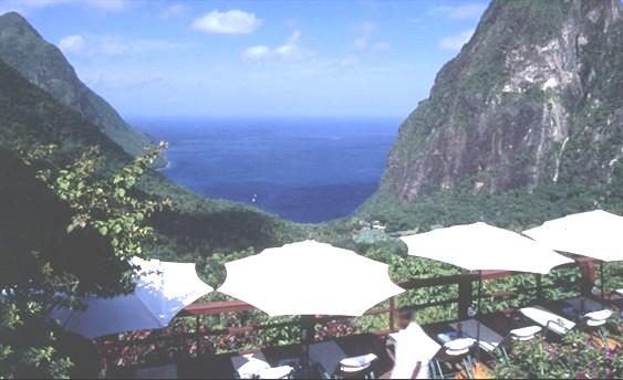 Ladera restaurant overlooking the Pitons