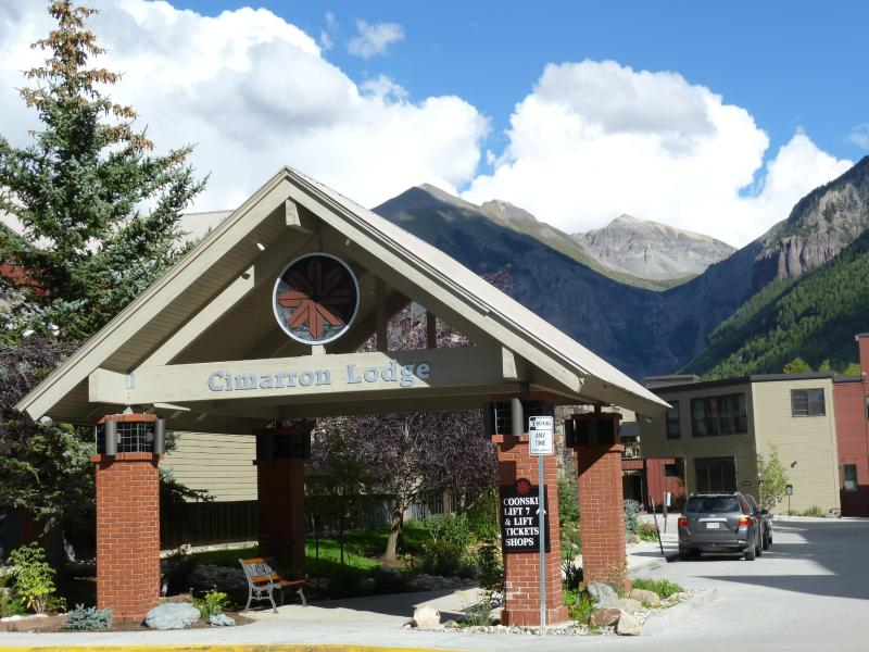 Gateway to the Cimarron Lodge, home to Chairlift 7, Lift Ticket Office, Ski Shop & Rentals, etc.