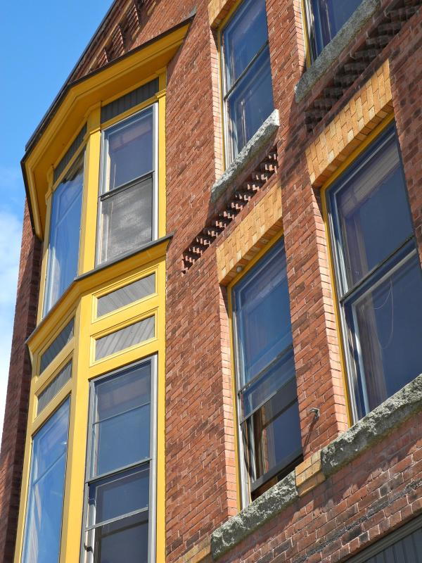 Detail of the fully restored historic building.