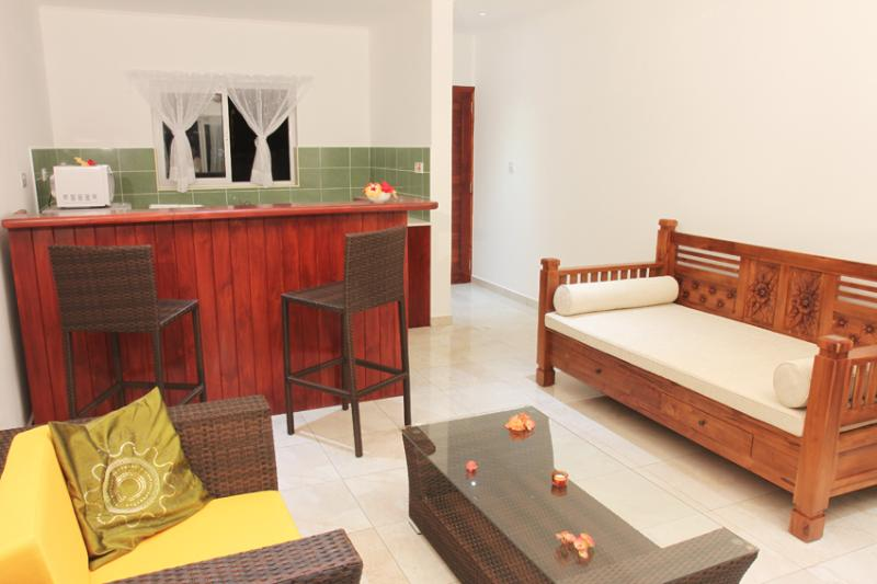 Garden View Villa - lounge area and kitchenette with breakfast bar in new villa at Coco Blanche
