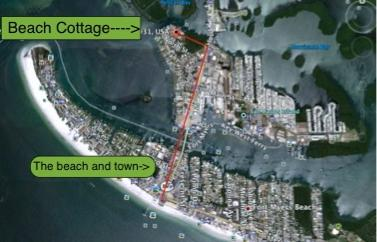 Location of beach, shops, restartants,and pier