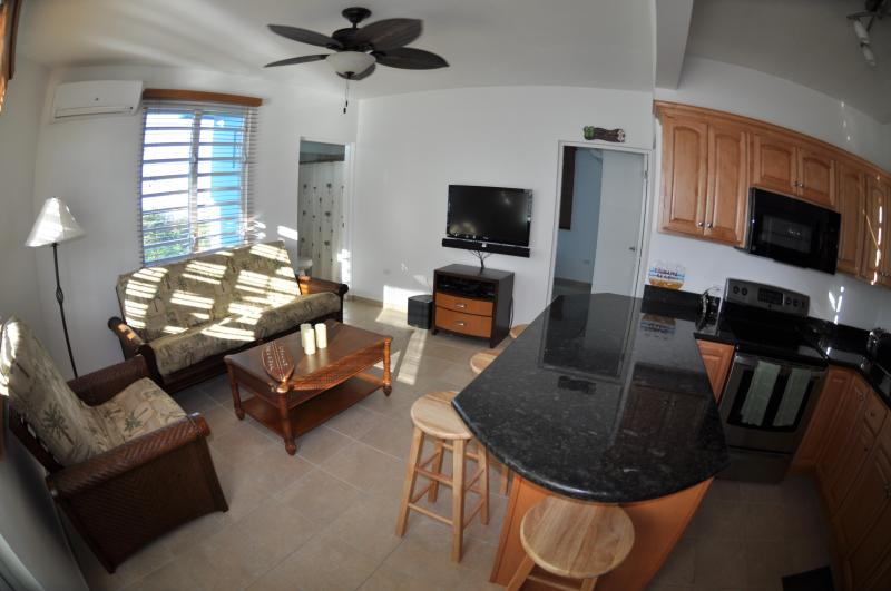 Family Room with plenty of seating, Flat Screen TV and Stereo