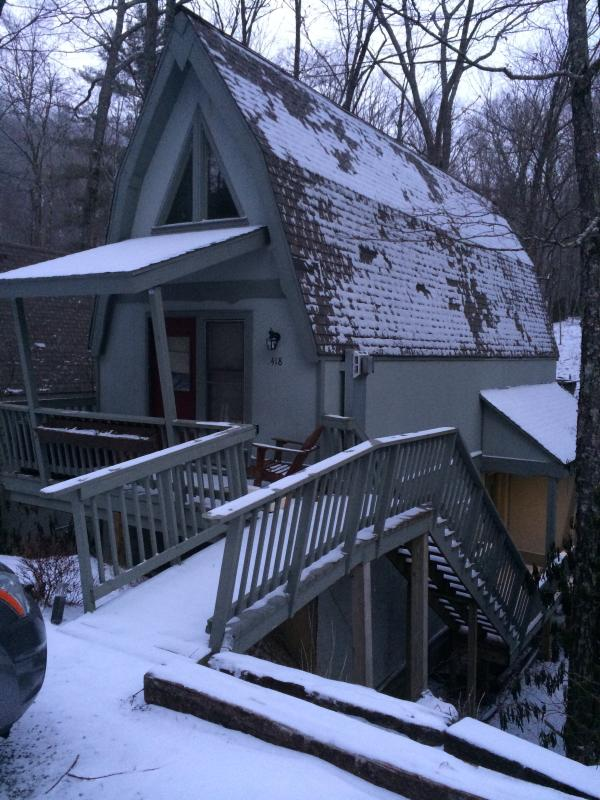 front of house after snowfall