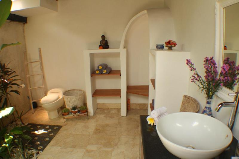 Bathroom 1, includes tropical garden, bath and 'under the stars' shower.