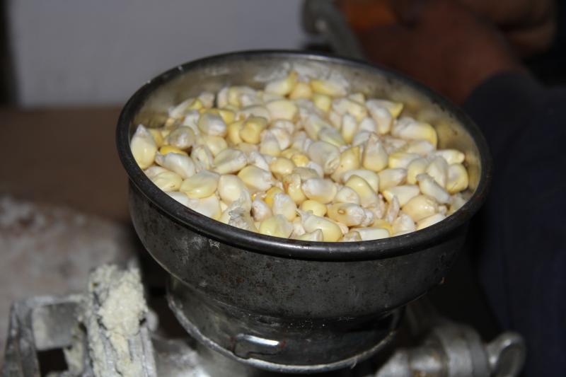 Grinding the corn to make humitas