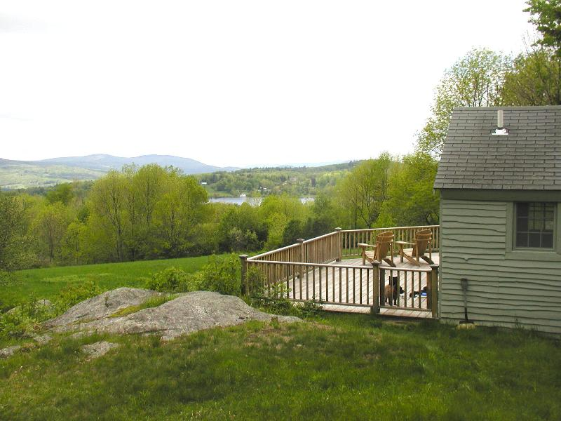 large deck overlooking Star Lake and the mountains beyond