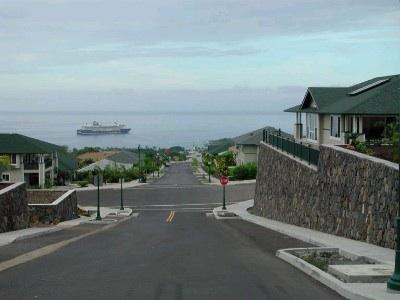 Cruise ship docked in Kailua bay. Quiet neighborhood in the heart of Kailua-Kona