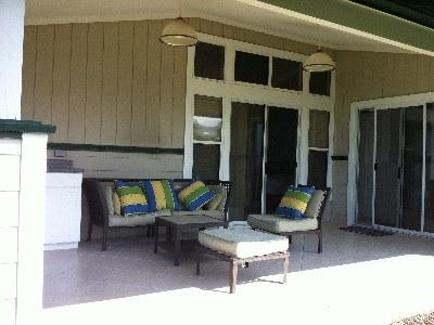 Relax in the back lanai.
