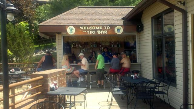 tiki bar at lake and lodge, less than a mile away from the house