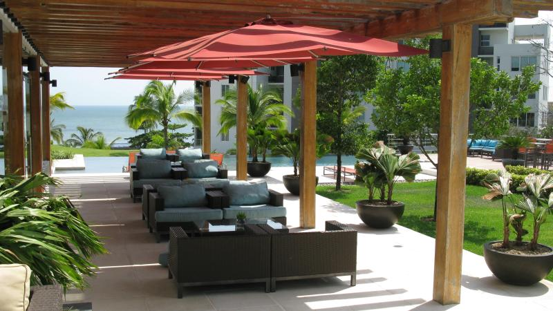 Social area outside of Private Restaurant on property.