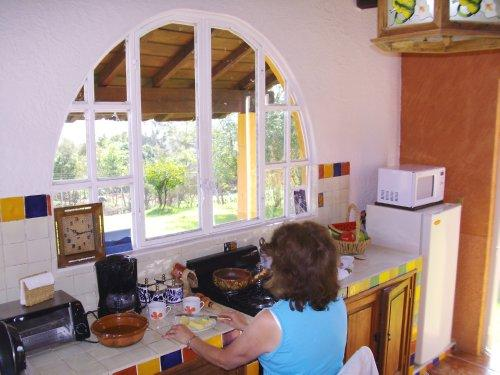 Preparing lunch, view of lake through large picture window  in front