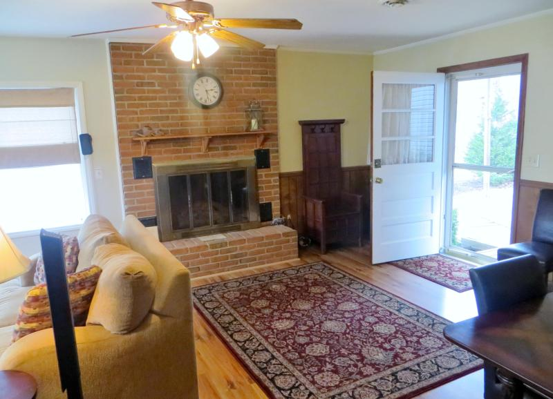 Entryway with fireplace