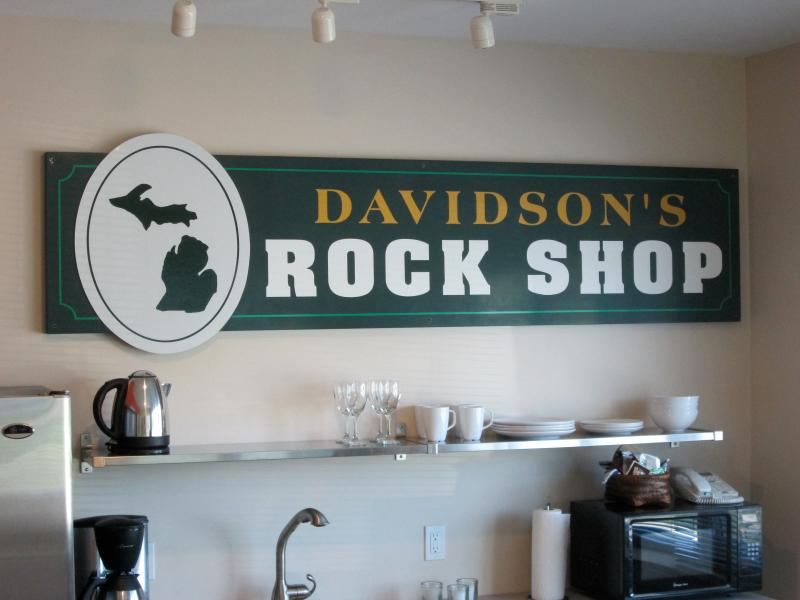 The original 'Rock Shop' sign in the kitchenette.