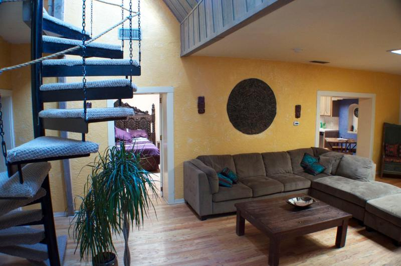 Living room and access to mezzanine