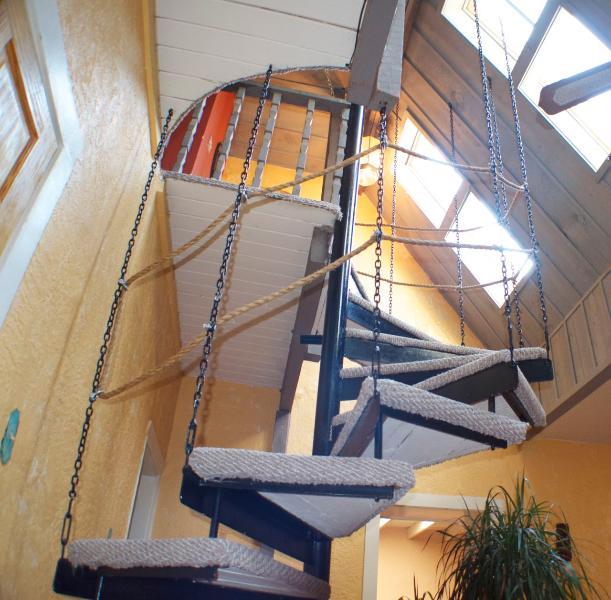 Spiral stair case to upper floor