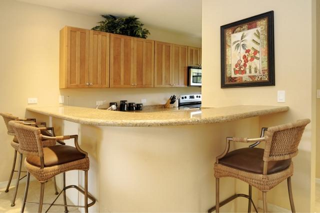 Kitchen counter top eating area 3 bar stools