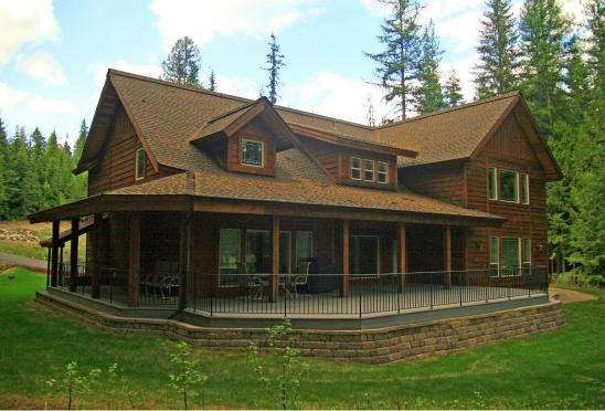 Nicklaus House patio viewed from 6th fairway of the Priest Lake Golf Course
