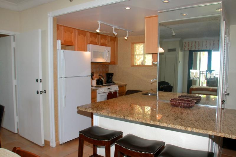 A full kitchenette provides everything you need, all with a view of the ocean.