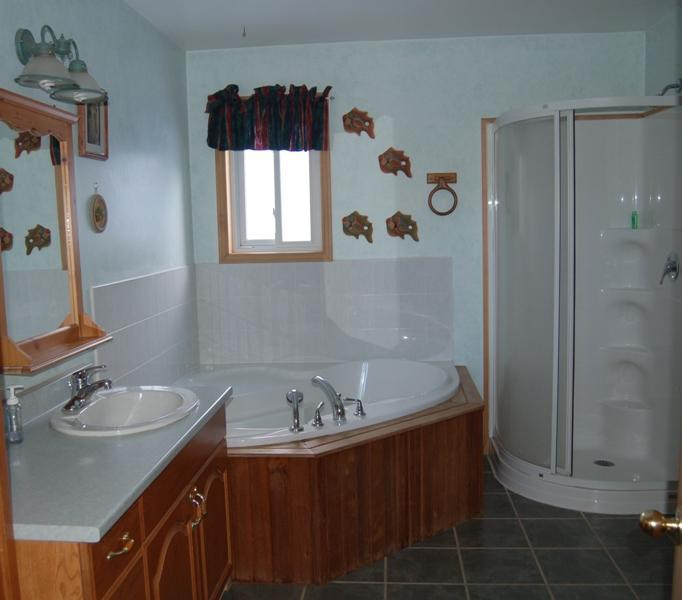 Upstairs 5 piece bath with a nice corner jacuzzi tub, great soaker tub for the little ones and more