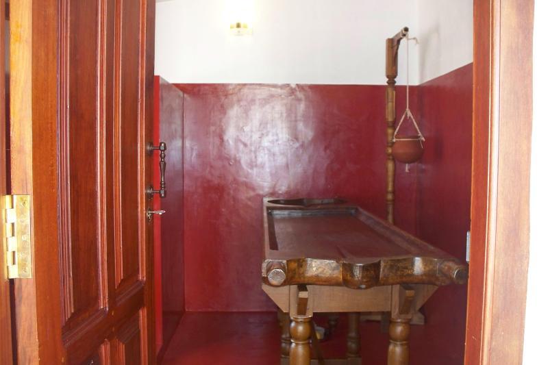 ayurveda room with thoni bed