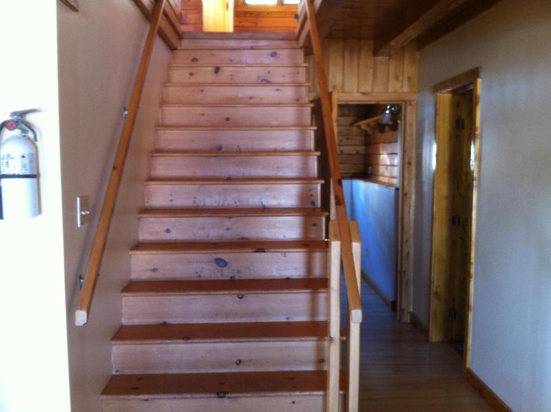 Down stairs is finished with 3 bedrooms bathroom and wood stove
